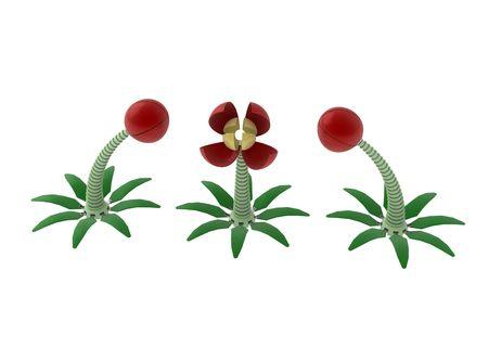 3d cg: 3 mechanical 3d flowers, horizontal