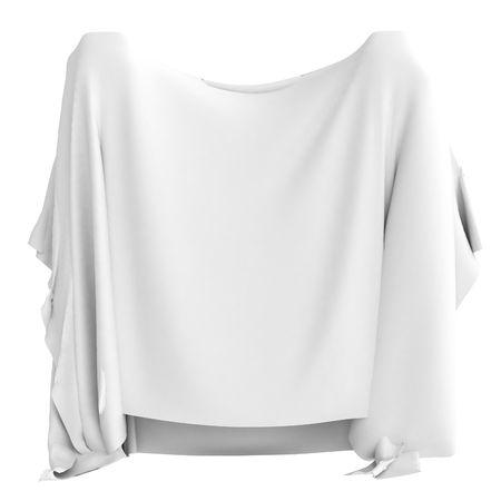 tela blanca: Un pedazo del pa�o blanco que cuelga en los dobleces, 3d