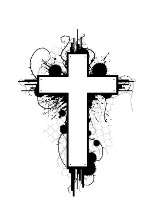Grunge Cross Emblem Vector