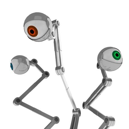 3 Robotic Eyes, red, green and blue pupils Stock Photo - 2771221
