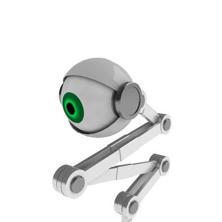 white backing: A white robotic eye backing away, isolated