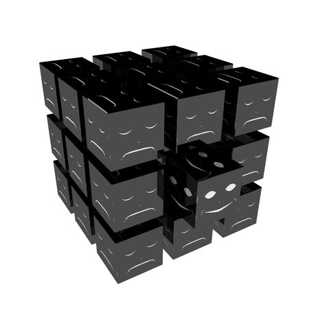 distinguish: Black 3d cubes with white expressions on the sides