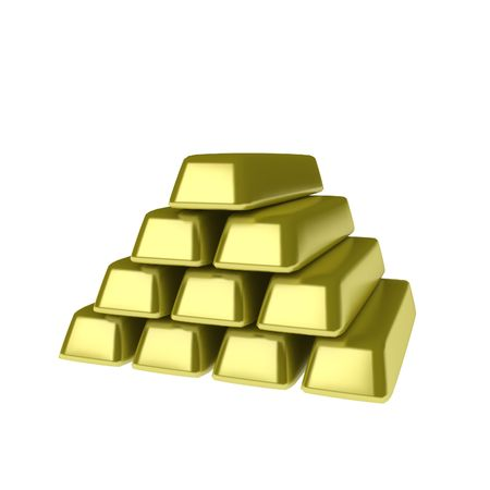 A stack of gold 3d ingots, isolated photo
