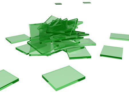 Trozos de vidrio verde en 3D, a lo largo de blanco  Foto de archivo - 2771095