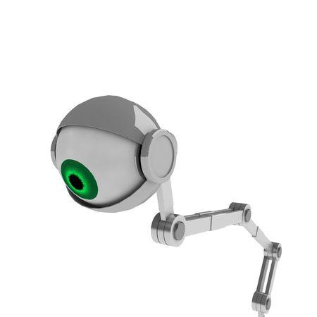globo ocular: Un ojo rob�tico blanco que mira abajo del primer