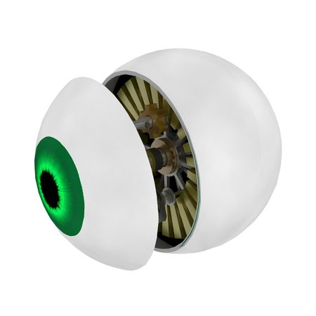 Split mechanical eyeball, 3d, over white, isolated photo