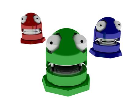 3 3d robot toys in red green and blue photo