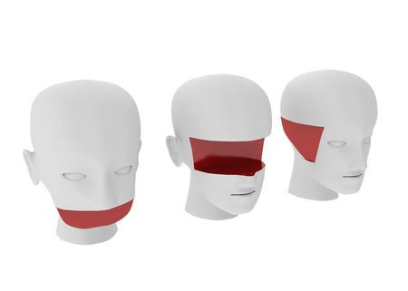 limitations: 3 white 3d head sculptures with parts missing