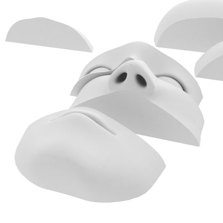 entity: White 3d sculpture head in pieces on a surface