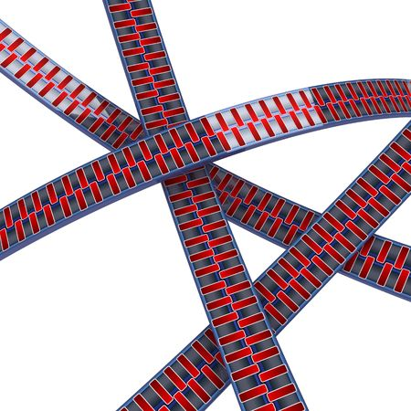 intersect: Intersecting 3d cartoon zippers, over white, isolated