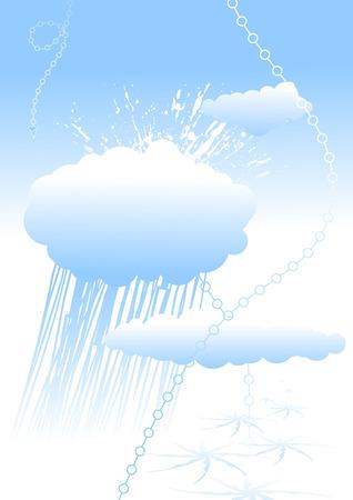 Blue vector cloud card design, vertcal alignment Vector