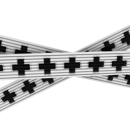 intersect: Intersecting black cross ribbons, over white, isolated