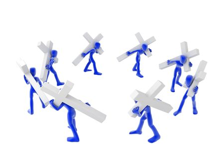 superstitions: A circle of multiple blue figures carrying white crosses