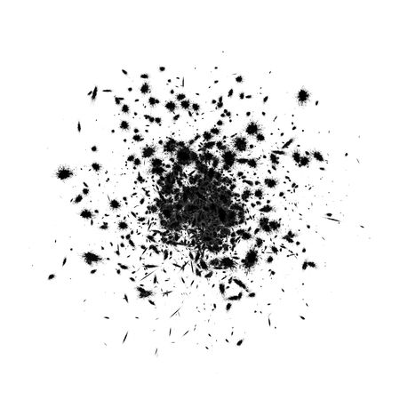 blotches: 3d black ink explosion, over white, isolated Stock Photo