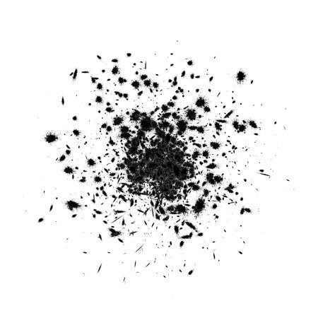 explodindo: 3d explosão de tinta preta, sobre o branco, isolado