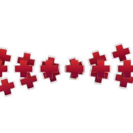 croix rouge: Croix-Rouge de lignes, 3d, sur fond blanc, isol� Banque d'images