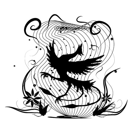 fantasy creature: Dancing Bird Illustration