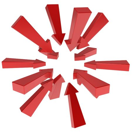 converge: Long red 3d arrows gathering, over white, isolated Stock Photo