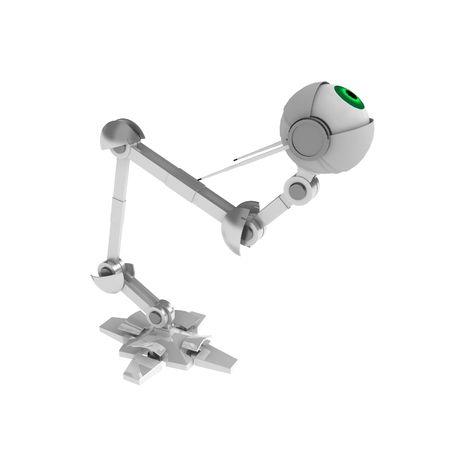 crouching: 3d robotic eye, crouching, over white, isolated