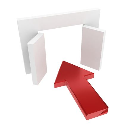 Red 3d arrow pointing inside, over white, isolated Stock Photo