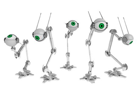 5 3d robotic eyes, horizontal, over white, isolated photo