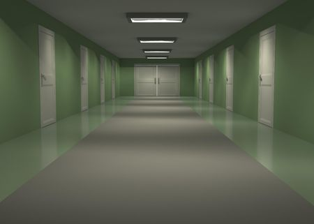 Long empty 3d hall interior with green walls, horizontal photo