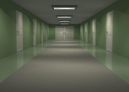 Long empty 3d hall interior with green walls, horizontal photo