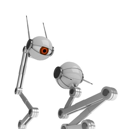 intimidate: 2 3d robotic eyes, over white, isolated
