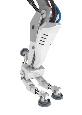 Bent 3d robotic leg, over white, isolated Stock Photo - 3019397