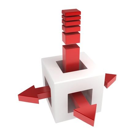 way to go: 3d box with spreading arrows, over white, isolated