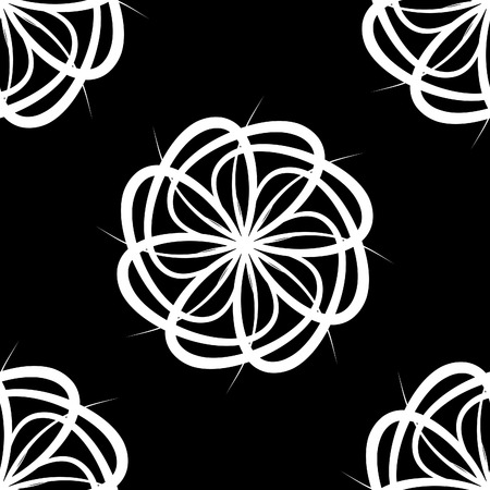 White flower over black seamless tile pattern Stock Vector - 3019341