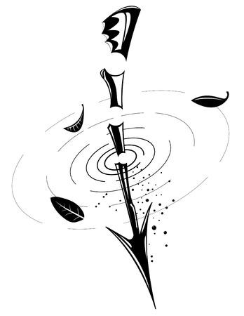 pierce: Arrow shape, black and white, elements separate Illustration