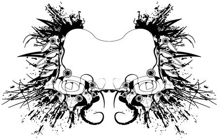separato: Carta di scorrimento grunge, elementi distinti, in bianco e nero