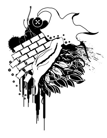 Surreal grunge design, elements separate, black and white Vector