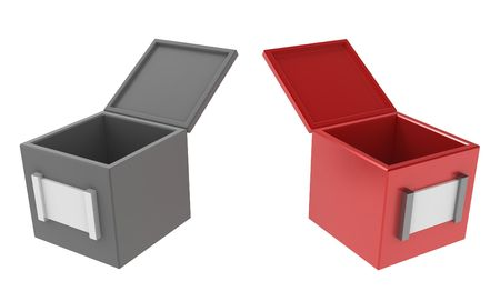 insides: 2 open 3d boxes, isolated