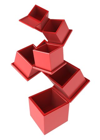 insides: 7 red 3d boxes, isolated