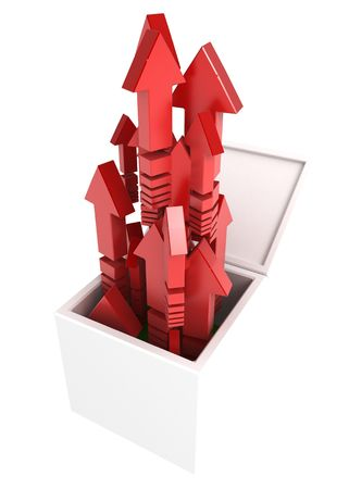 An open 3d box with red arrows photo