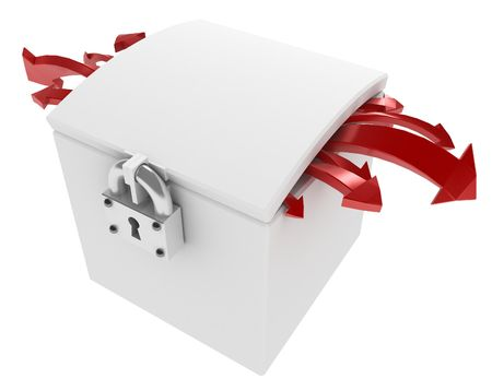 insides: White 3d box with red arrows Stock Photo