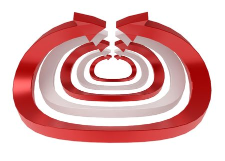 arching: Red and white arching 3d arrows, isolated Stock Photo