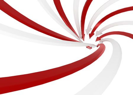 Red and white 3d arrows, isolated photo