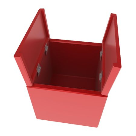 insides: Red 3d open box, isolated