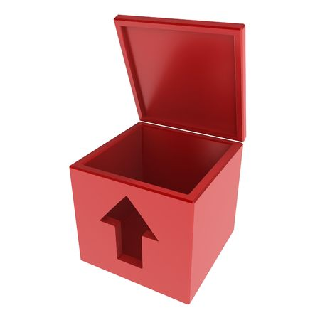 instruct: Red 3d open box, isolated