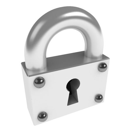 Small 3d padlock, over white, isolated photo
