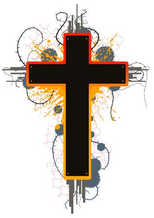 Colored grunge cross emblem design, vector Vector