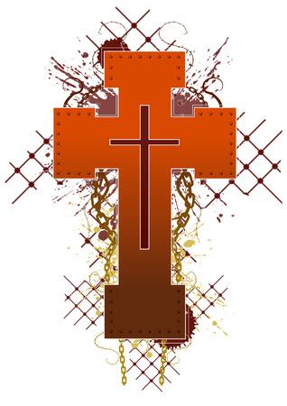 grunge cross: Colorate grunge croce emblema disegno, vettore  Vettoriali