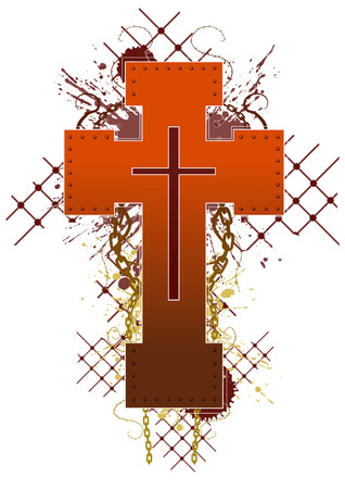 superstitions: Colored grunge cross emblem design, vector