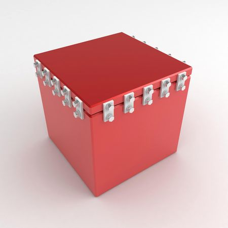 insides: Bolted 3d box, over white, isolated