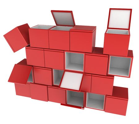 insides: A Wall of 3d boxes, over white, isolated