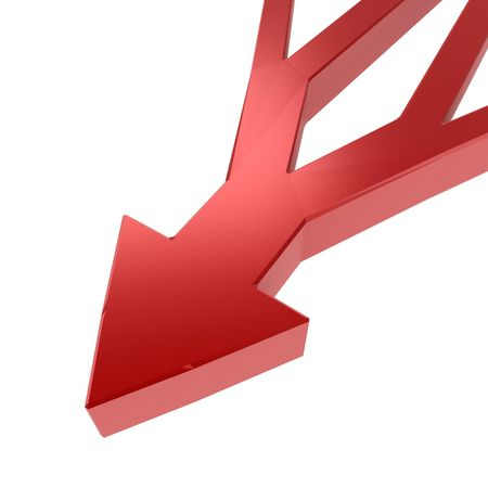 branched: Branched 3d arrow, over white, isolated