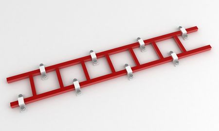 fixed: Fixed 3d ladder, over white, isolated